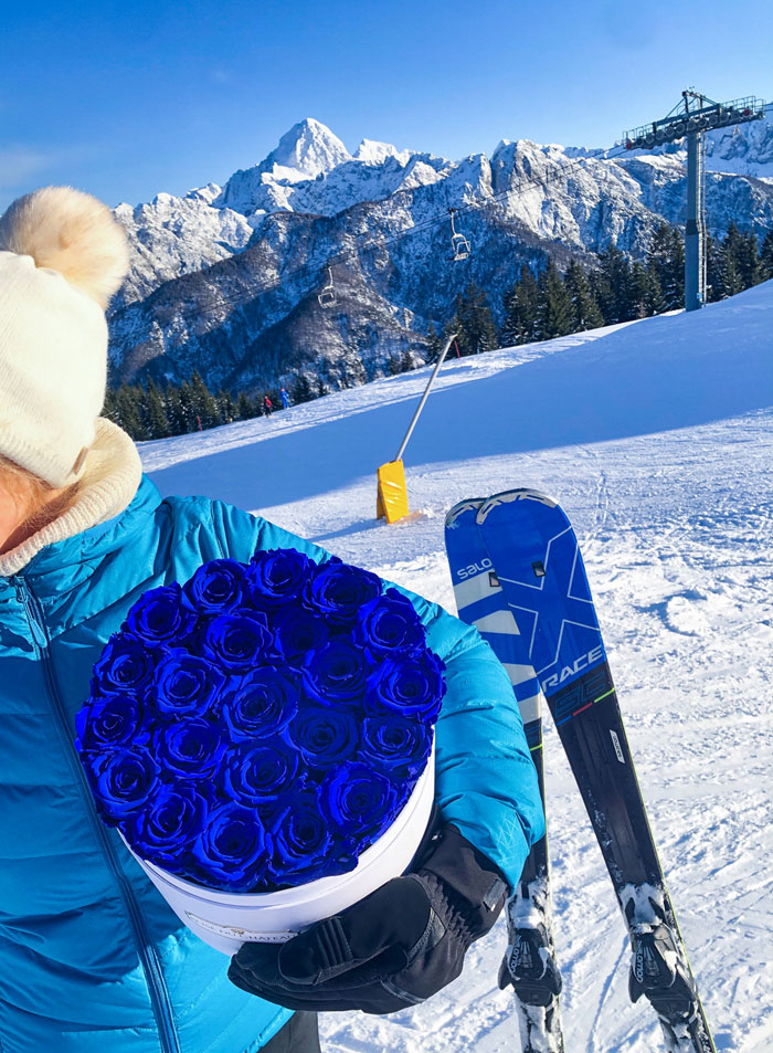 flowerbox niebieskie róże na specjalną okazję