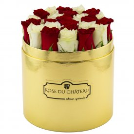 Edition Speciale Złoty Box z Białymi & Czerwonymi Różami