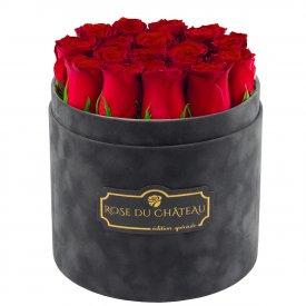 Edition Spéciale Antracytowy Flokowany Box z Czerwonymi Różami