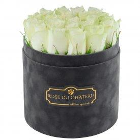 Edition Spéciale Antracytowy Flokowany Box z Białymi Różami