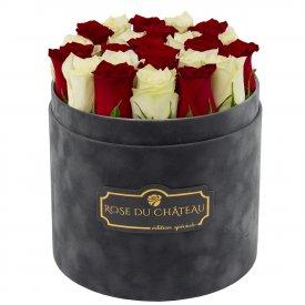Edition Spéciale Antracytowy Flokowany Box z Białymi & Czerwonymi Różami