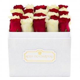 Białe & Czerwone Róże w Białym Kwadratowym Boxie