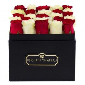 Białe & Czerwone Róże Żywe w Czarnym Kwadratowym Boxie