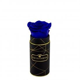 Niebieska Wieczna Róża w Czarnym Mini Industrialnym Boxie