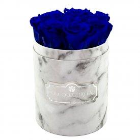 Niebieskie Wieczne Róże w Białym Małym Marmurowym Boxie