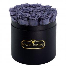 Szare Wieczne Róże w Czarnym Okrągłym Boxie