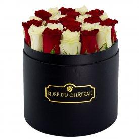 Białe & Czerwone Róże Żywe w Czarnym Okrągłym Boxie