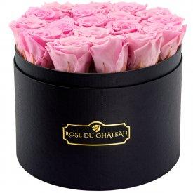 Bladoróżowe Wieczne Róże w Czarnym Dużym Boxie