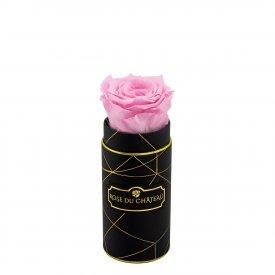 Bladoróżowa Wieczna Róża w Czarnym Mini Industrialnym Boxie