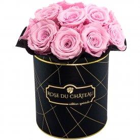 Bladoróżowe Wieczne Róże Bouquet w Czarnym Industrialnym Boxie