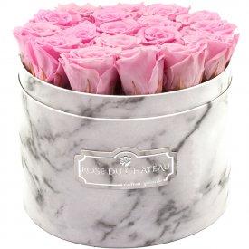 Bladoróżowe Wieczne Róże w Białym Dużym Marmurowym Boxie