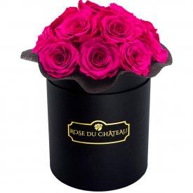 Różowe Wieczne Róże Bouquet w Czarnym Boxie