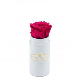 Różowa Wieczna Róża w Białym Mini Boxie