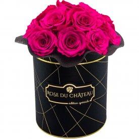 Różowe Wieczne Róże Bouquet w Czarnym Industrialnym Boxie