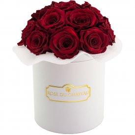 Czerwone Wieczne Róże Bouquet w Białym Boxie