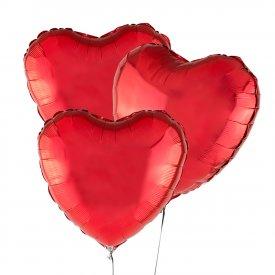 Trzy Czerwone Balony Serce 46 cm