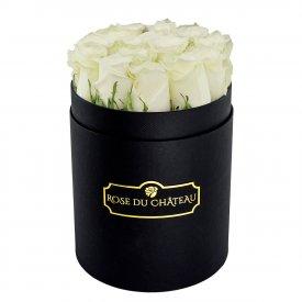 Białe Róże Żywe w Małym Czarnym Boxie