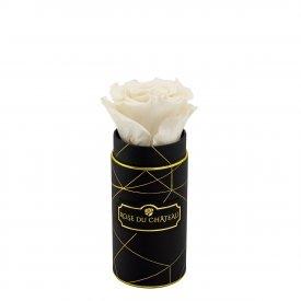 Biała Wieczna Róża w Czarnym Mini Industrialnym Boxie