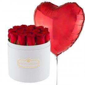 Czerwony Balon Serce & Biały Okrągły Box