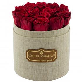 Czerwone Wieczne Róże w Lnianym Flowerboxie
