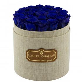 Niebieskie Wieczne Róże w Lnianym Boxie
