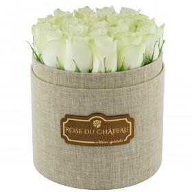 Edition Spéciale Lniany Box z Białymi Różami Żywymi