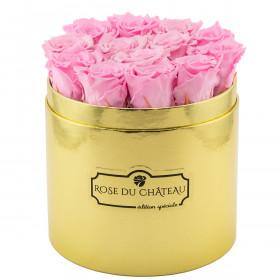 Bladoróżowe Wieczne Róże w Złotym Boxie