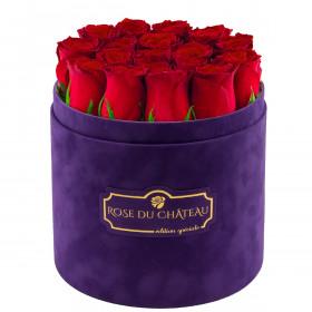 Edition Spéciale Fioletowy Flokowany Box z Czerwonymi Różami