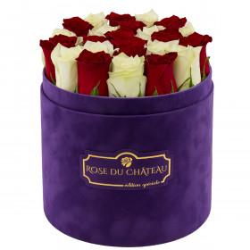 Edition Spéciale Fioletowy Flokowany Box z Białymi & Czerwonymi Różami