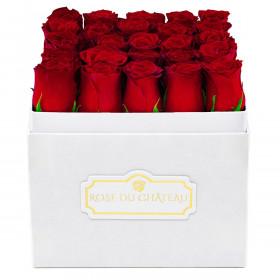 Czerwone Róże w Białym Kwadratowym Boxie