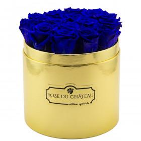 Niebieskie Wieczne Róże w Złotym Boxie