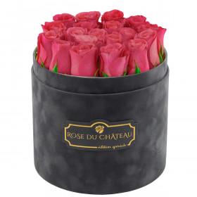 Edition Spéciale Antracytowy Flokowany Box z Różowymi Różami