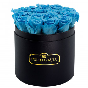 Błękitne Wieczne Róże w Czarnym Okrągłym Boxie