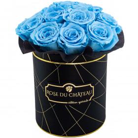 Błękitne Wieczne Róże Bouquet w Czarnym Industrialnym Boxie