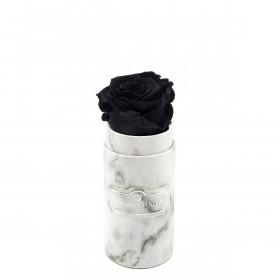 Czarna Wieczna Róża w Białym Mini Marmurowym Boxie