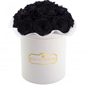Czarne Wieczne Róże Bouquet w Białym Boxie