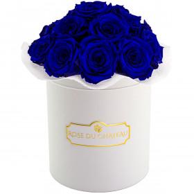 Niebieskie Wieczne Róże Bouquet w Białym Boxie