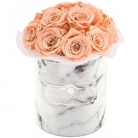 Herbaciane Wieczne Róże Bouquet w Białym Marmurowym Boxie