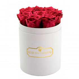 Różowe Wieczne Róże w Białym Małym Boxie