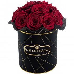 Czerwone Wieczne Róże Bouquet w Czarnym Industrialnym Boxie