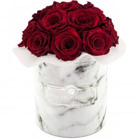 Czerwone Wieczne Róże Bouquet w Białym Marmurowym Boxie