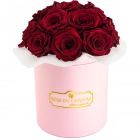 Czerwone Wieczne Róże Bouquet w Różowym Boxie