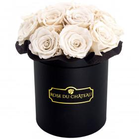 Białe Wieczne Róże Bouquet w Czarnym Małym Boxie