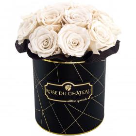 Białe Wieczne Róże Bouquet w Czarnym Industrialnym Boxie