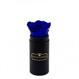 Blaue Ewige Rose in schwarzer Mini Rosenbox