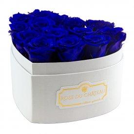 Blaue Ewige Rosen in weißer Herzbox