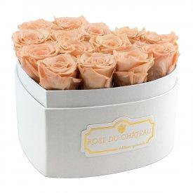 Teefarbene Ewige Rosen In Weißer Herzbox