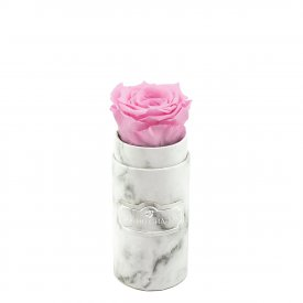 Zartrosafarbene Ewige Rose in weißer marmorierter Mini Rundbox