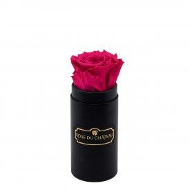 Rosafarbene Ewige Rose in schwarzer Mini Rosenbox