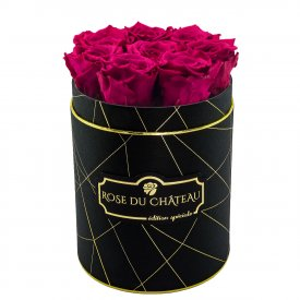 Rosafarbene Ewige Rosen in schwarzer industrial Rundbox Small